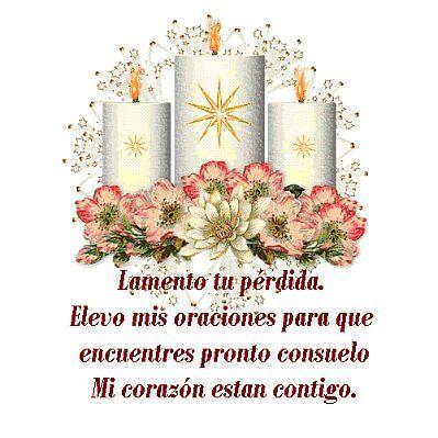 imagen de condolencias con velas y flores