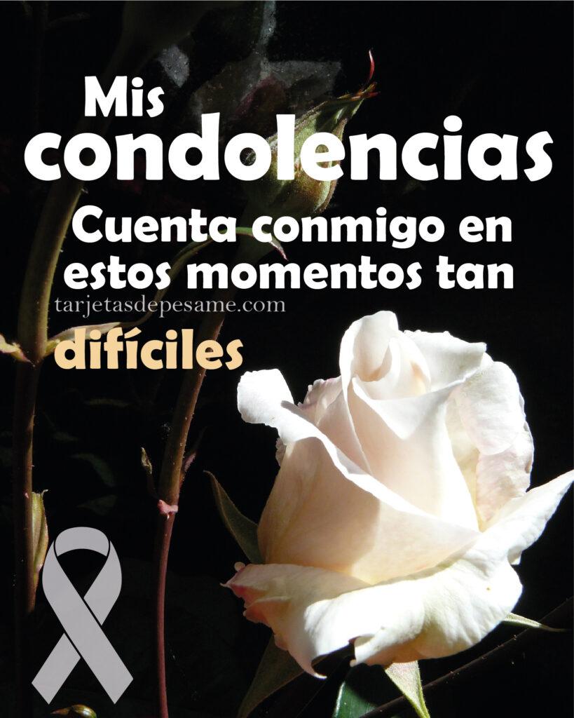 mensaje de condolencias por luto y rosa